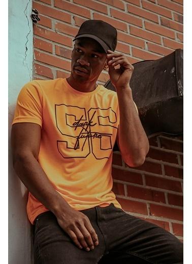 XHAN Turuncu Naskışlı & Baskılı T-Shirt 1Kxe1-44598-11 Oranj